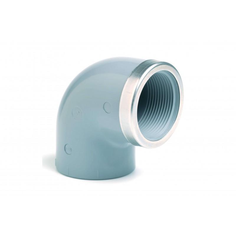 """Coude PVC Pression 90° Renforcé Mixte Diamètre 63x2"""" PN16 Femelle à coller Femelle à visser"""