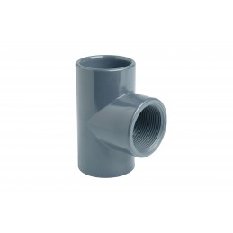 """Té PVC Pression 90° Diamètre 20x1/2"""" PN16 Mixte F à coller F à visser"""