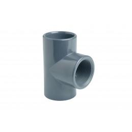 """Té PVC Pression 90° Diamètre 50x1""""1/2 PN16 Mixte F à coller F à visser"""