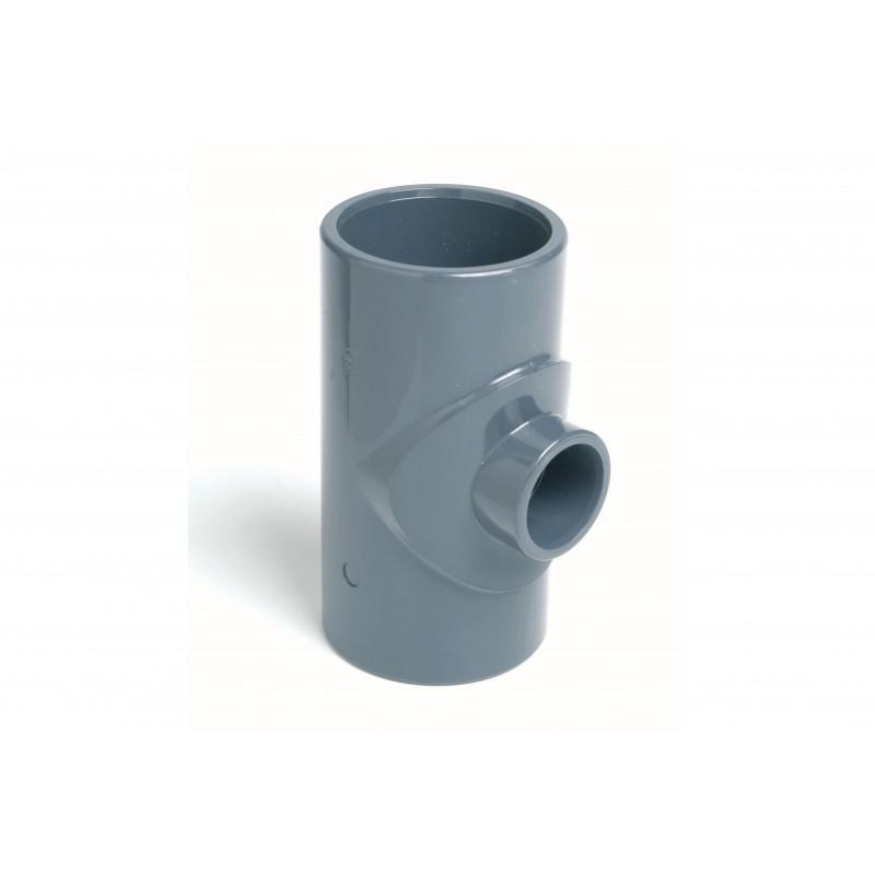 Té Réduit PVC Pression 90° Diamètre 90x63 PN16 à coller