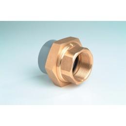 """Union 3 pièces PVC/Laiton Diamètre 20x1/2"""" PN16 Mixte F à coller F à visser"""