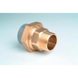 """Union 3 pièces PVC/Laiton Diamètre 20x1/2"""" PN16 Mixte F à coller M à visser"""