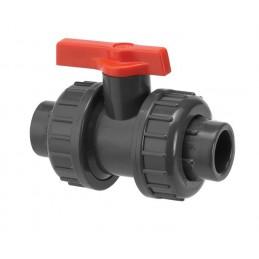 Vanne 1/4 tour Diamètre 3/8 pouce PVC PRESSION PN16 à visser taraudé joint EPDM
